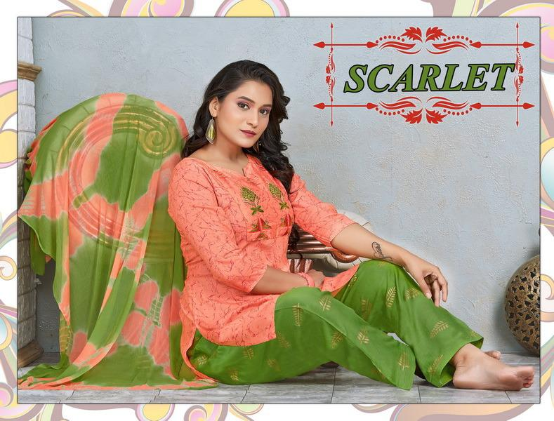 Trendy Scarlet Rayon Casual Wear Readymade Collection
