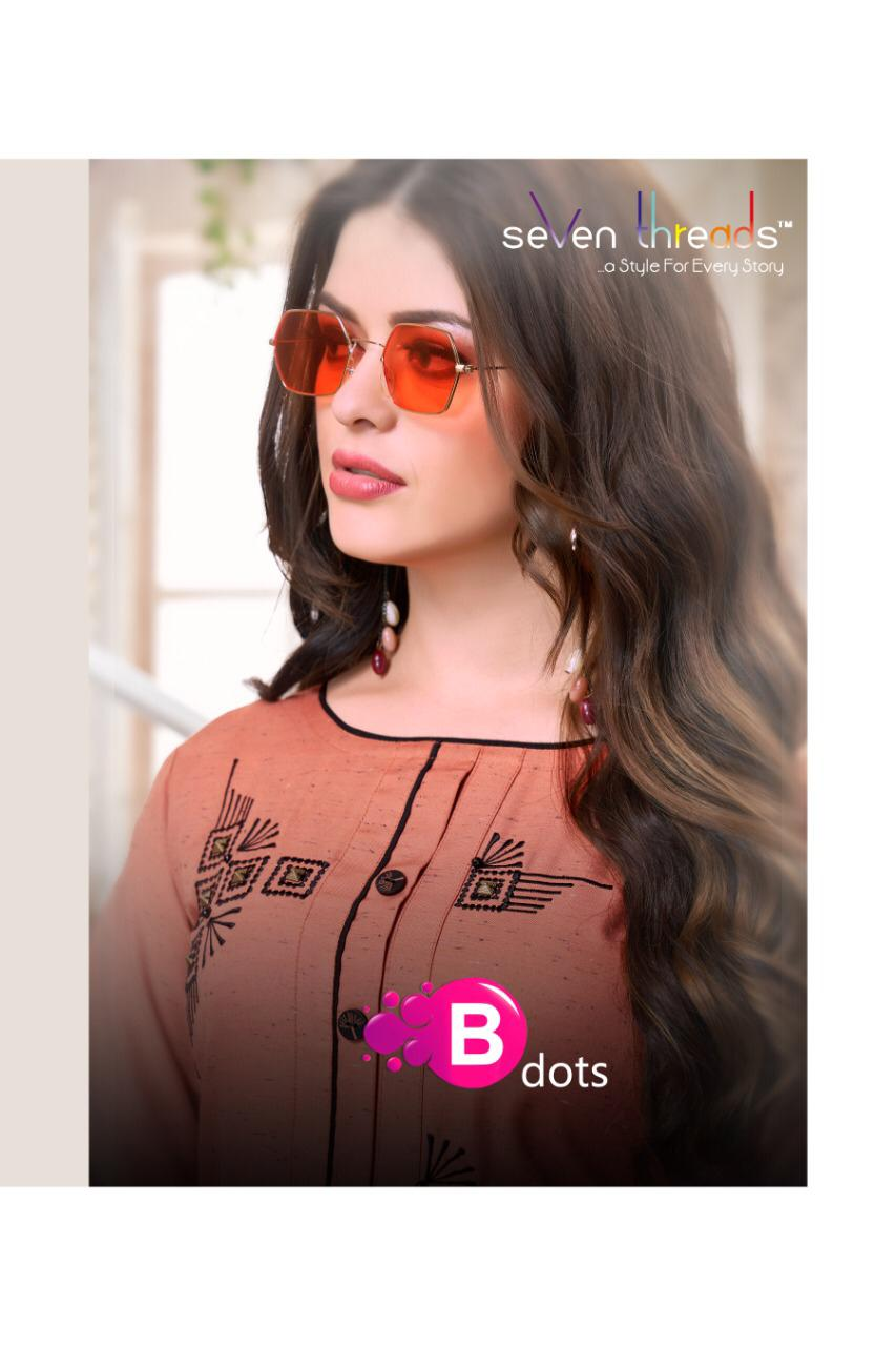 SEVEN THREADS B DOTS RAYON ATTRACTIVE KURTI WITH PLAZO CATALOG