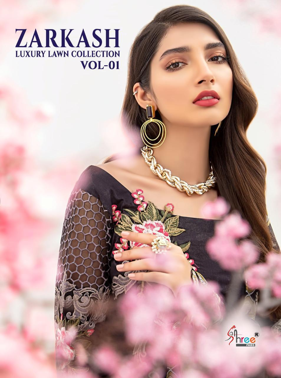 SHREE FAB ZARKASH LUXURY LAWN COLLECTION VOL 01 REGAL LOOK SALWAR SUIT WITH SIFFON DUPATTA CATALOG