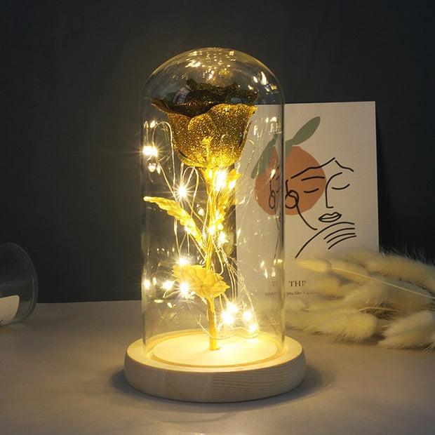 ARTIFICIAL ETERNAL ROSE LED LIGHT IN GLASS COVER