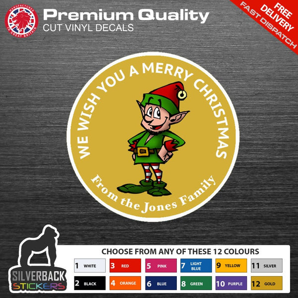Personalised Elf Christmas Stickers | Available in 8 different colours | Personalise with your own text.