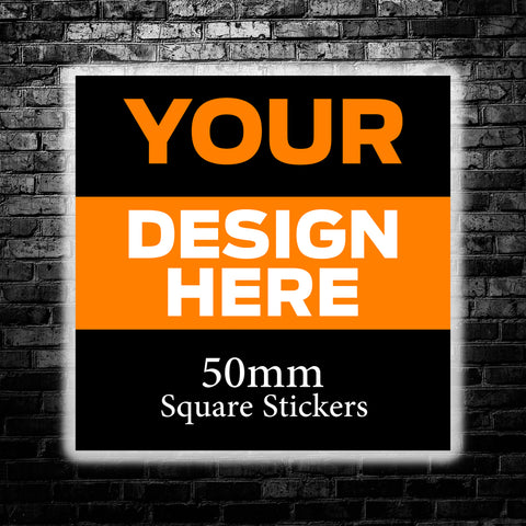 50mm Custom Square Stickers - We use your artwork to create a sticker design for you