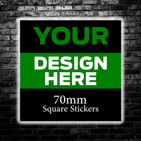 70mm Custom Square Stickers - We use your artwork to create a sticker design for you