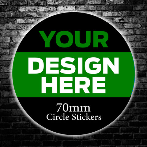70mm Custom Circle Stickers - We use your artwork to create a sticker design for you