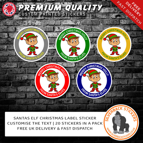 Elf personalised christmas stickers