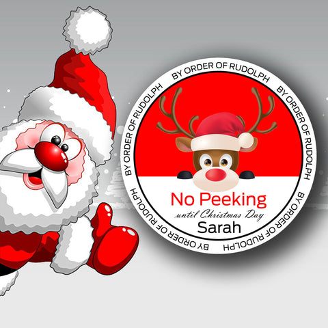 Personalised no peeking by order of Rudolph stickers