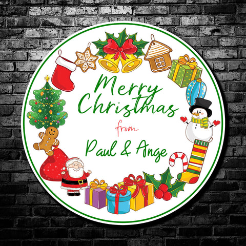 Fantastic playful Christmas Wreath design present stickers