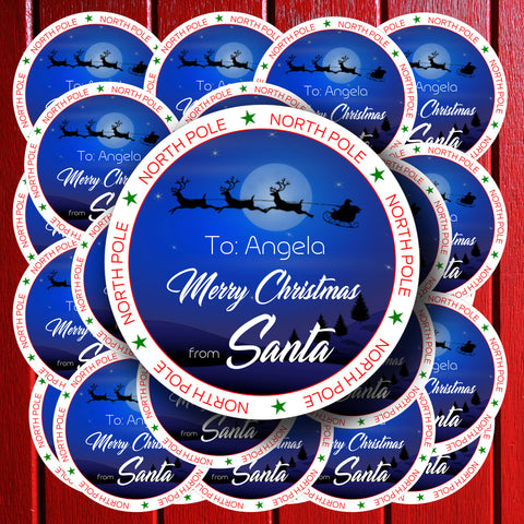 Personalised Santa's Sleigh and Reindeer in the night sky stickers 20 Personalised Christmas Stickers / Labels. Christmas present stickers from the North Pole with Santa's Sleigh & Reindeer. These stickers offer you such a simple and time-saving way to label all of your Christmas presents.