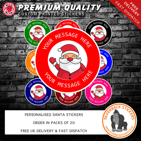 Santa design personalised christmas stickers