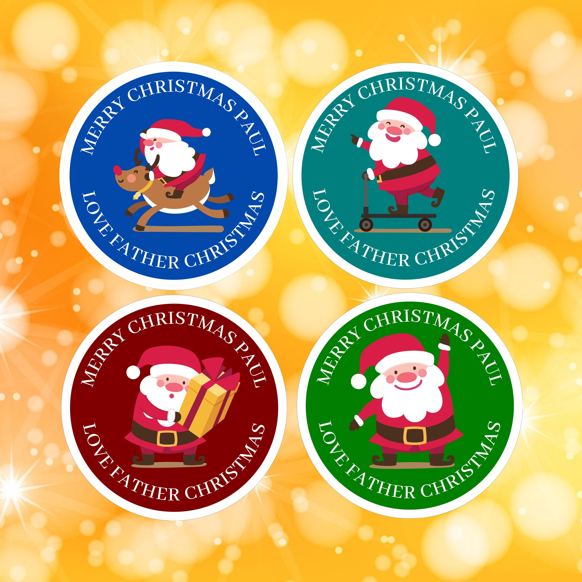 4 Designs of Santa Stickers personalised Christmas stickers