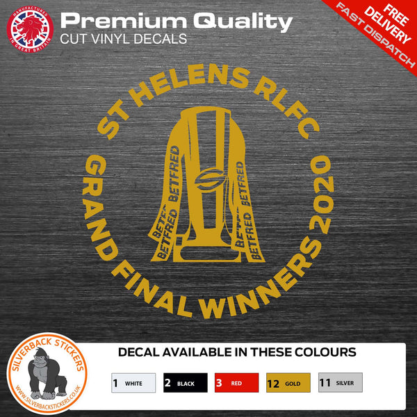 St Helens Rugby League grand final winners TROPHY Decal | St Helens Rugby car Sticker | Rugby League Grand Final winners decal | Rugby Decal