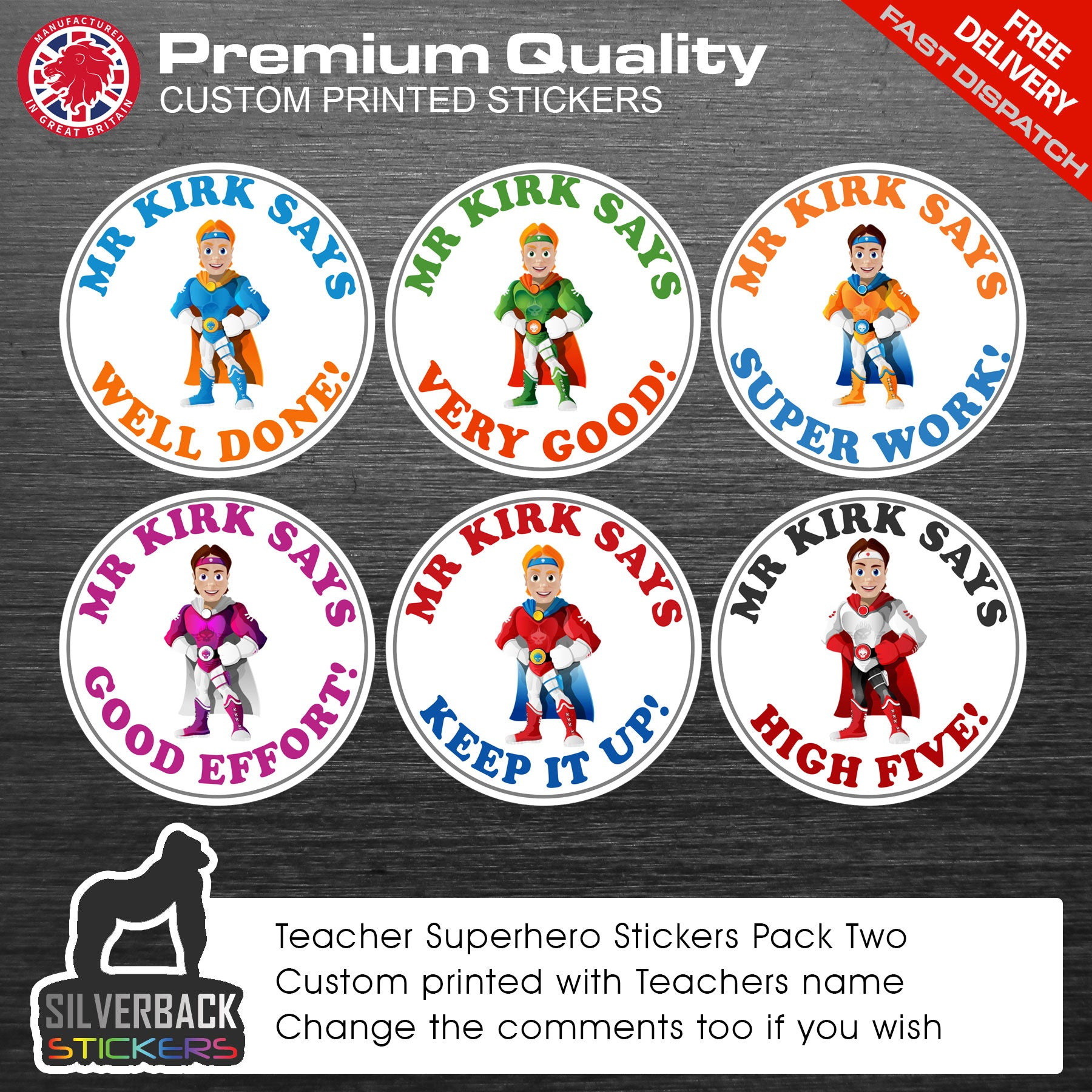 48 Personalised Superhero teacher merit stickers / reward stickers