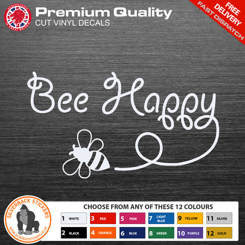 Bee Happy car stickers | 2 Pack car decals in a Bee Happy design