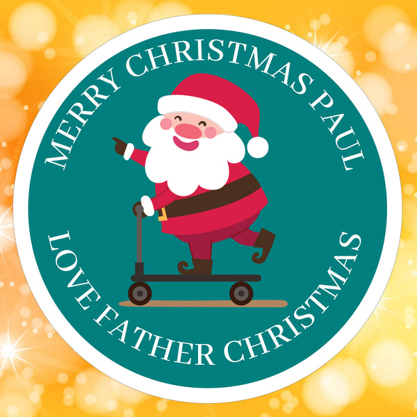 Teal Santa Sticker