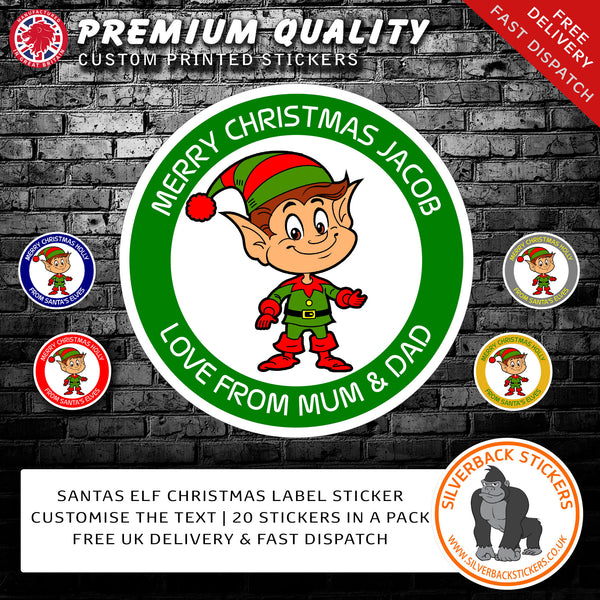 20 Personalised ELF Christmas stickers available in 5 colours | Elf Christmas Stickers | Custom Elf Christmas Stickers.