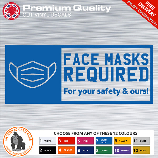 Covid 19 Face Mask Required Sticker | Corona Virus Face Mask required sticker | Corona Vinyl Decal | Covid Sticker | Wear a Mask