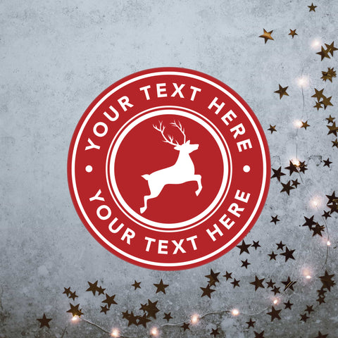 Classy customisable Christmas stickers featuring a reindeer design in red
