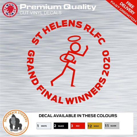 St Helens Rugby League grand final winners STICKMAN Decal | St Helens Stickman Rugby car Sticker | Rugby League Grand Final winners decal