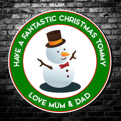 Custom snowman  Christmas Stickers | Add your own text | Personalised christmas snowman stickers | Christmas gift stickers