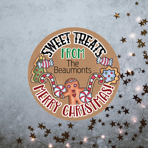 Personalised sweet treats Christmas stickers