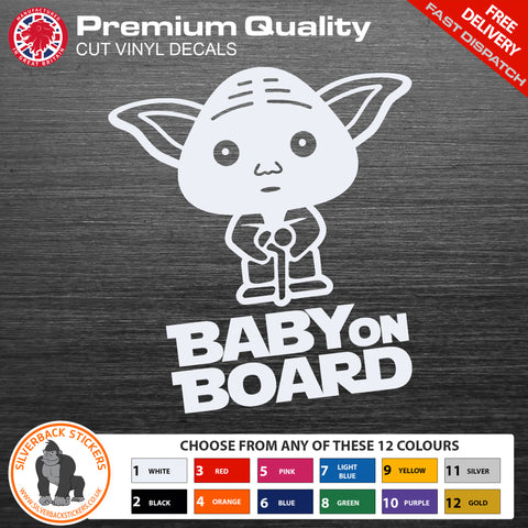 Baby on board car sticker | Baby Yoda on board car sticker | Baby Yoda vinyl Decal | Baby Yoda bumper sticker