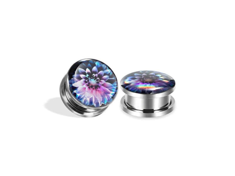 Piercing-Dealer Multicolore / 6mm Plug Orecchio <br> Motivo Floreale