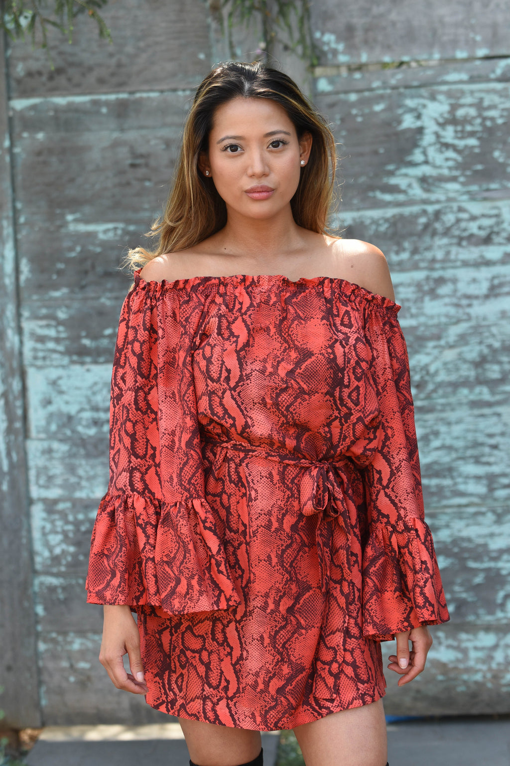 Palm Springs Lola Tunic Dress in Red Cobra Python