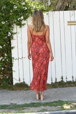 Palm Springs Slip Dress in Red Coral Python