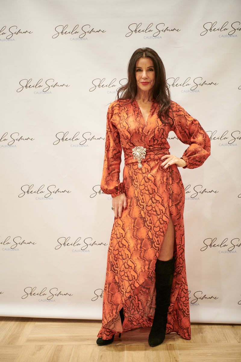 Palm Springs Wrap Dress in Red Coral Python