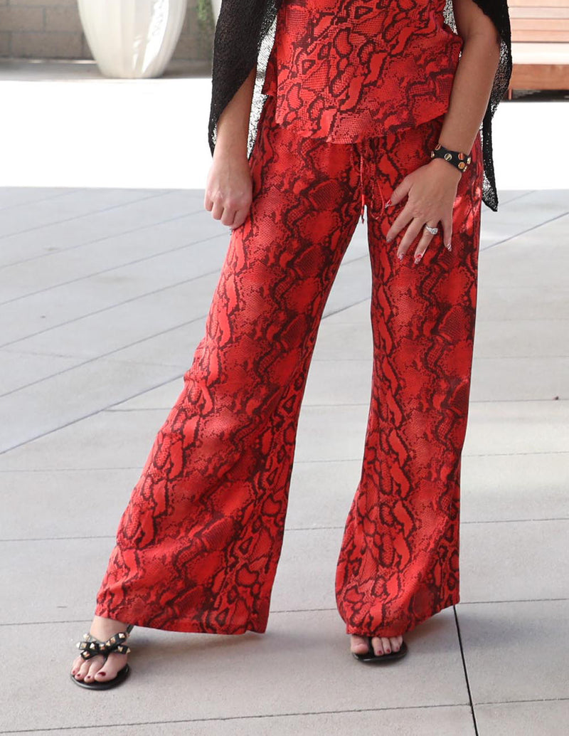 Palm Springs Pants in Red Coral Python