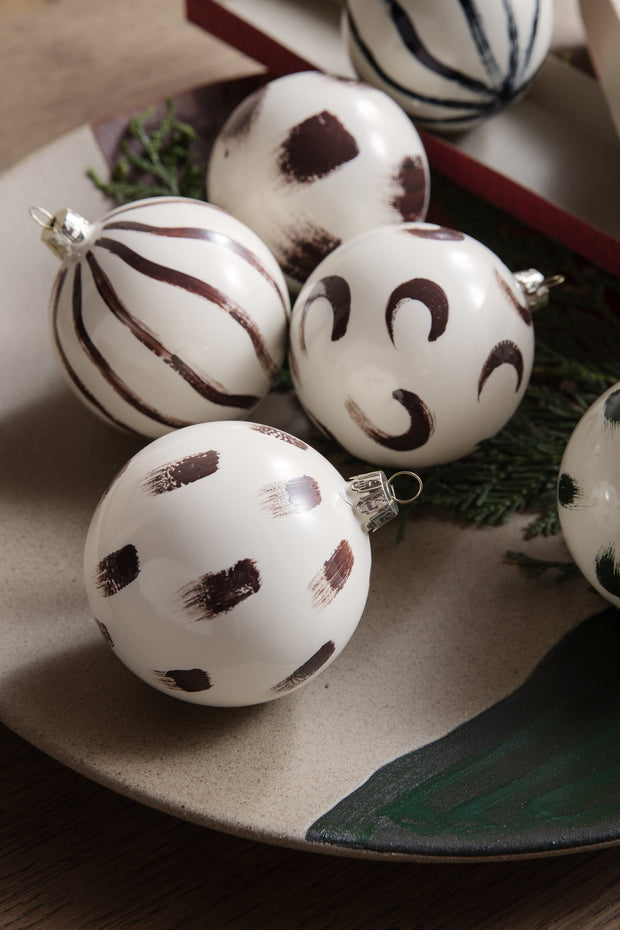Set of 4 Christmas Hand Painted Glass Ornaments by Ferm Living
