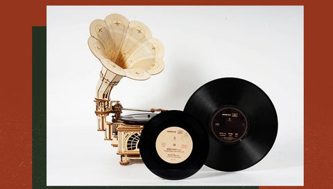 classic gramophone plays records