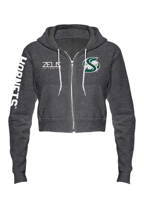 California State University Sacramento Sac State Envy Cropped Fleece Zip Hood by Zeus Collegiate