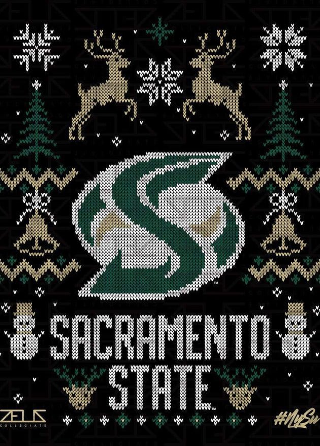 Sacramento State Hornets Sac State Ugly Sweater: Holiday Long Sleeve T-shirt by Zeus Collegiate
