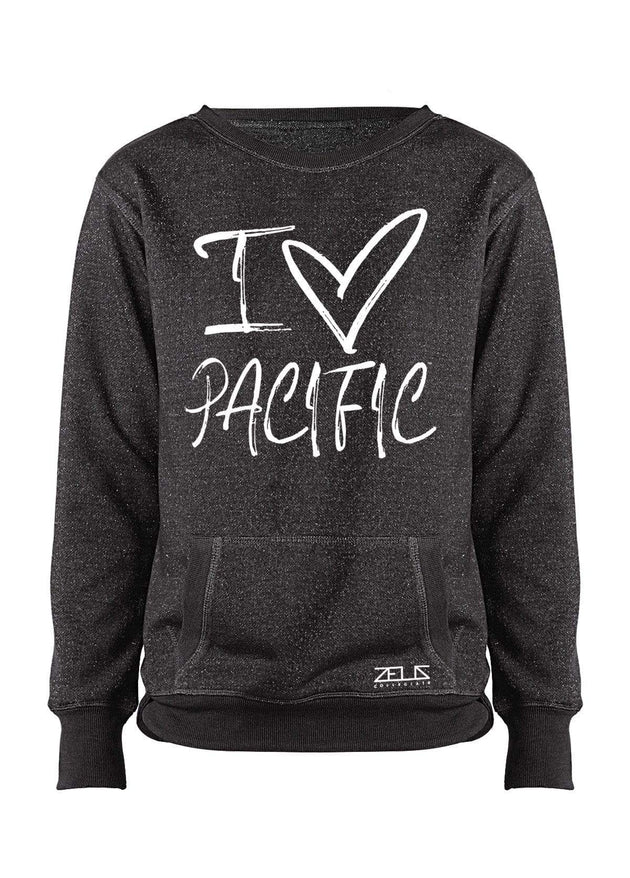 University of the Pacific Tigers I Love Pacific Glitter Crew by Zeus Collegiate