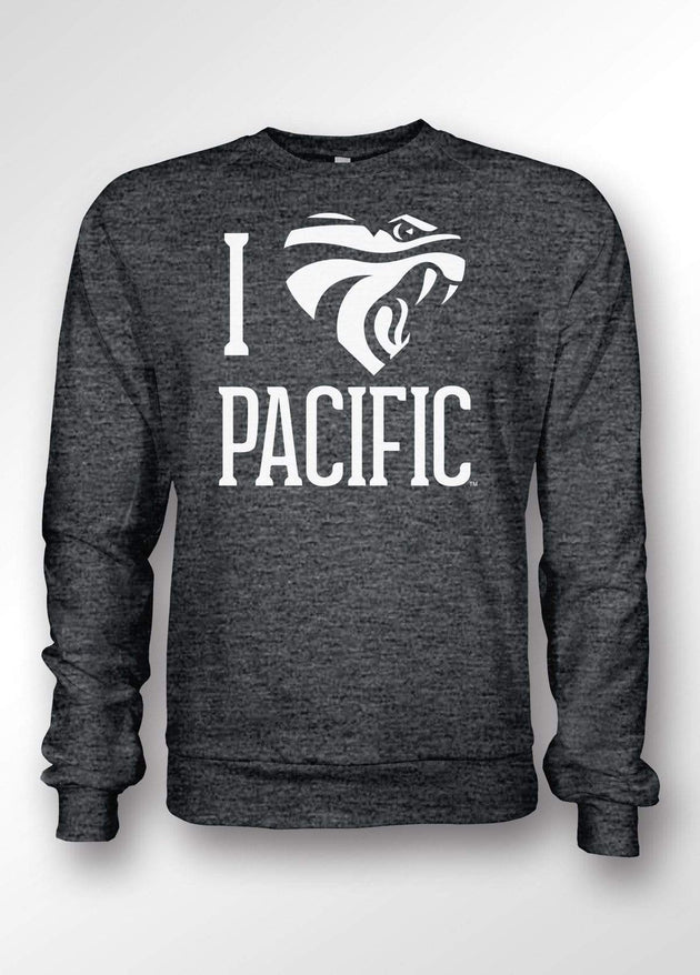 University of the Pacific Tigers I Love Pacific: Powercat Crewneck Sweatshirt by Zeus Collegiate