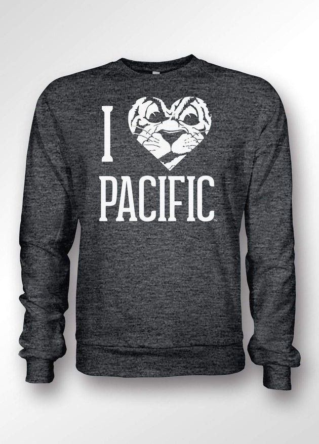 University of the Pacific Tigers I Love Pacific: Tommy Tiger Crewneck Sweatshirt by Zeus Collegiate