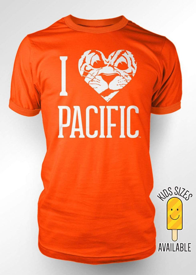 University of the Pacific Tigers I Love Pacific: Tommy Tiger T-shirt by Zeus Collegiate