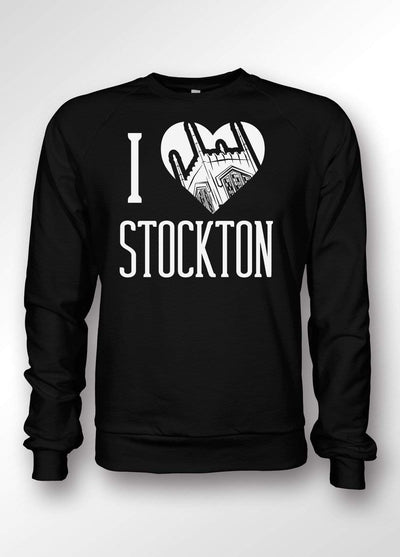 University of the Pacific Tigers I Love Stockton: Burns Tower Crewneck Sweatshirt by Zeus Collegiate