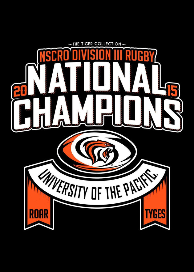 University of the Pacific Tigers Rugby National Champions 2015 T-shirt by Zeus Collegiate