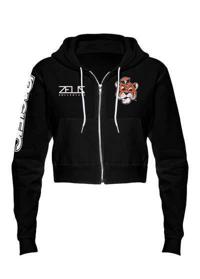 University of the Pacific Tigers Tommy Tiger Envy Cropped Fleece Zip Hood by Zeus Collegiate