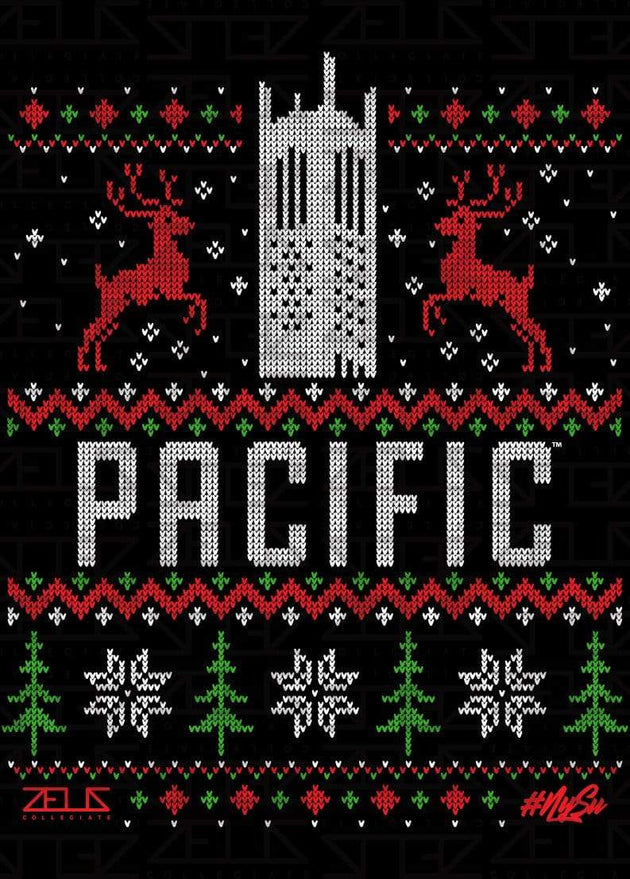 University of the Pacific Tigers Ugly Sweater: Burns Tower Long Sleeve T-shirt by Zeus Collegiate
