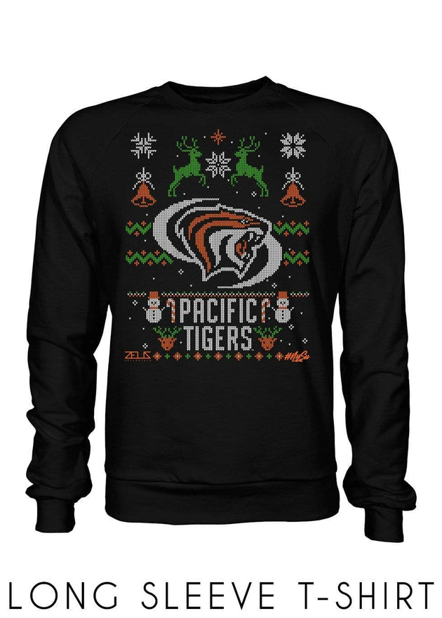 University of the Pacific Tigers Ugly Sweater: Powercat Long Sleeve T-shirt by Zeus Collegiate