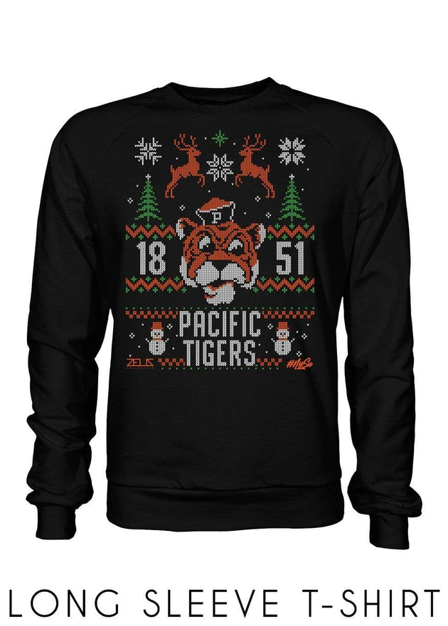 University of the Pacific Tigers Ugly Sweater: Tommy Long Sleeve T-shirt by Zeus Collegiate