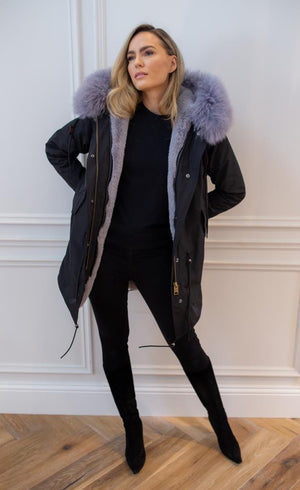 Black parka - Classic parka jacket with grey faux fur lining for and Mongolian fur hood made of sheep wool.