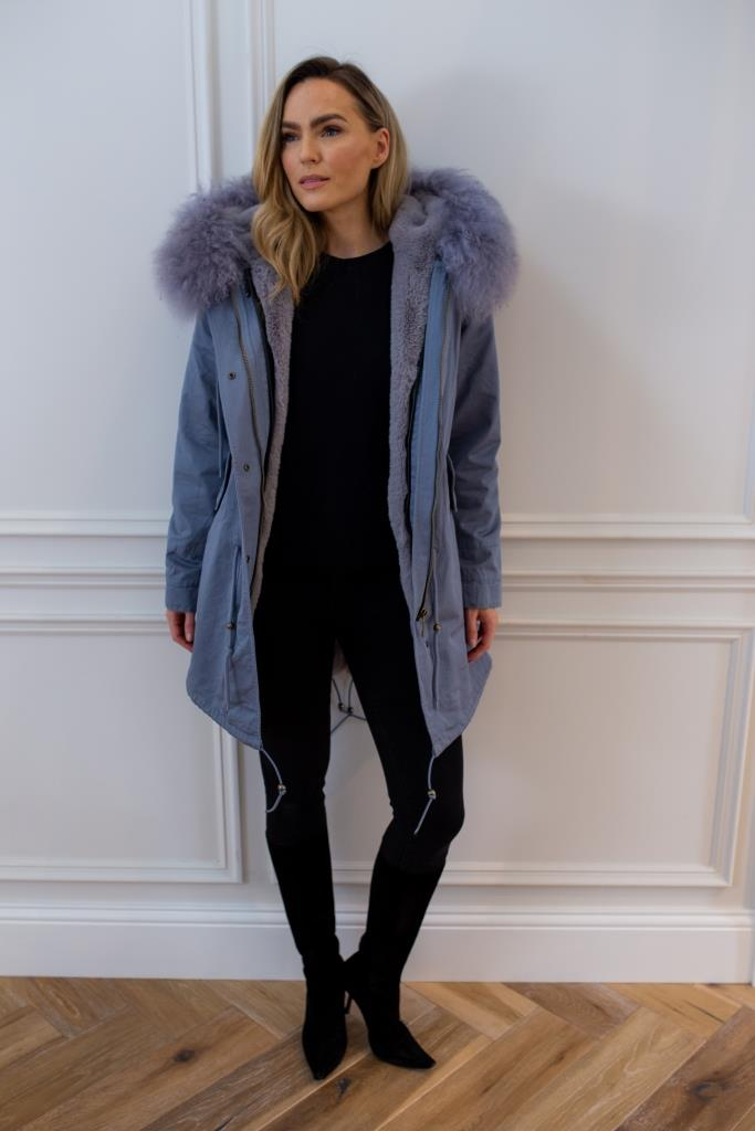 Grey parka - Classic parka jacket with grey faux fur lining for and Mongolian fur hood made of sheep wool.
