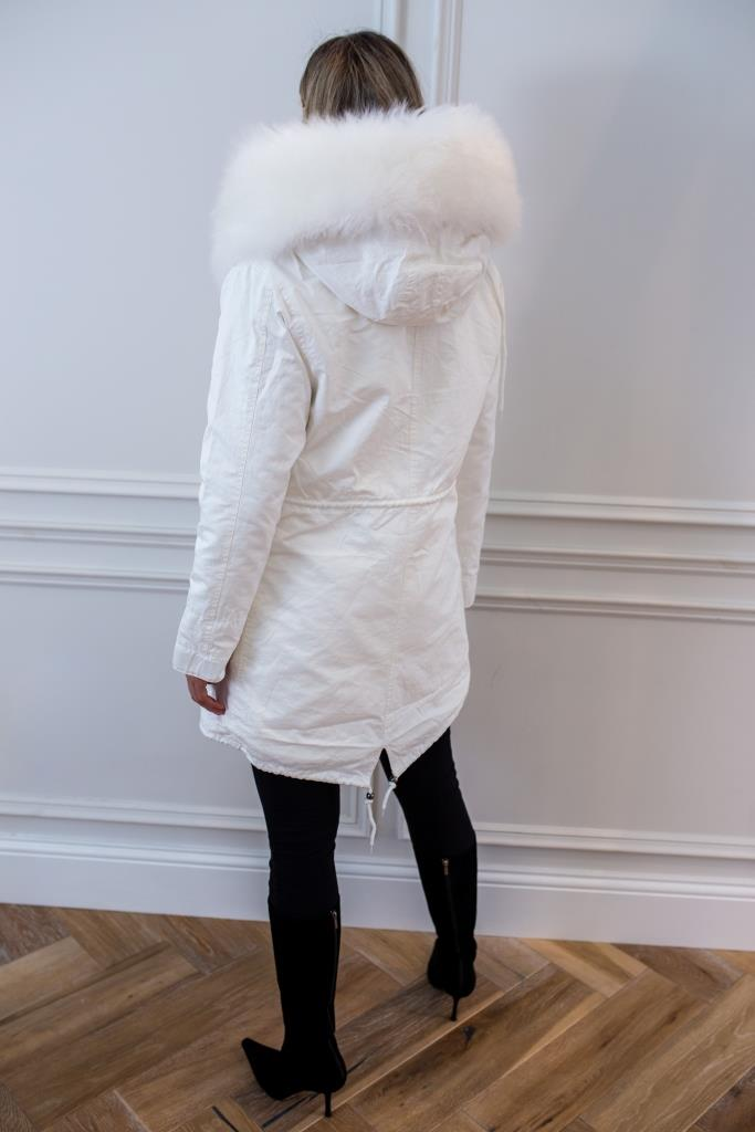 White parka - Classic parka jacket with white faux fur lining for and Mongolian fur hood made of sheep wool.