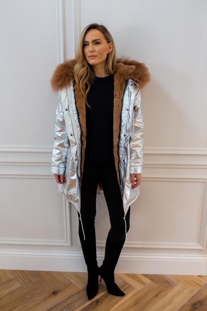 Silver parka - Classic parka jacket with tan faux fur lining for and Mongolian fur hood made of sheep wool.