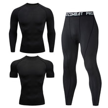 Charger l'image dans la galerie, Men's Compression Running Set Tight Legging Shirt Pant Long Sleeves Sport Clothing Teenager Tracksuit Suit Man Sportwear Dry Fit