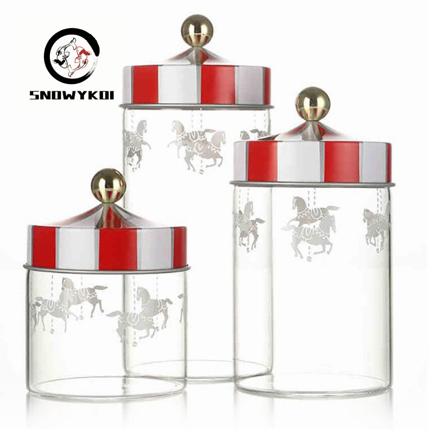 Sealed Storage Glass Jar set of 3